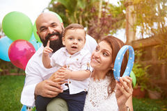 Lifestyle of happy latino family. Lifestyle of happy latino  on sunny day celebrating birthday Stock Images