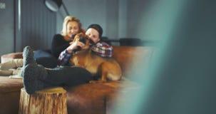 lifestyle Homme ayant l'amusement avec le chien à la maison Fond de mode de vie banque de vidéos