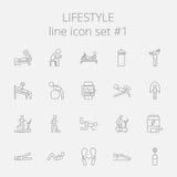 Lifestyle icon set. Vector dark grey icon isolated on light grey background Royalty Free Stock Photo