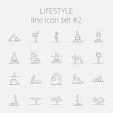 Lifestyle icon set. Vector dark grey icon isolated on light grey background Royalty Free Stock Photography