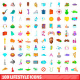 100 lifestyle icons set, cartoon style Royalty Free Stock Photo