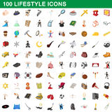 100 lifestyle icons set, cartoon style. 100 lifestyle icons set in cartoon style for any design vector illustration Royalty Free Stock Photos