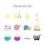 Lifestyle icons set. 16 colorful flat icons pack. Lifestyle icons set Stock Photo