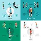 Lifestyle Icons Set. Lifestyle design concept set with work relationship sport and rest icons  vector illustration Stock Photography