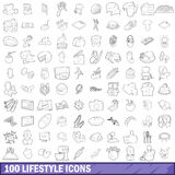 100 lifestyle icons set, outline style Royalty Free Stock Image