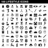 100 lifestyle icons set, simple style Stock Images