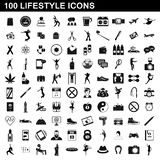 100 lifestyle icons set, simple style. 100 lifestyle icons set in simple style for any design illustration stock illustration