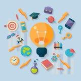 Lifestyle Icons Surrounding Idea Symbol. Lifestyle Isolated Icons Surrounding Idea Symbol  Flat Vector Ilustration On Light Blue Background Stock Image