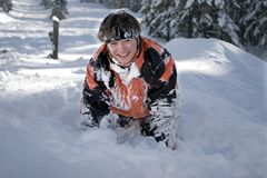 A  lifestyle image of snowboarder. A health lifestyle image of young adult snowboarder after incidence Stock Photo