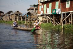 Lifestyle on the Inle Lake Royalty Free Stock Images