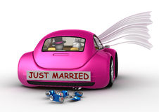 Lifestyle - Just married in the car Royalty Free Stock Image