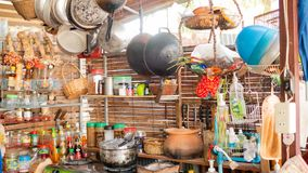 Lifestyle and kitchen conditions in rural Thailand. Thai kitchen in the countryside Filled with many types of cooking and cooking materials royalty free stock image