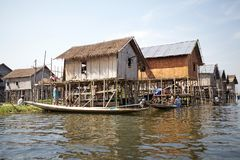 Lifestyle on the Lake Inle Myanmar Royalty Free Stock Images