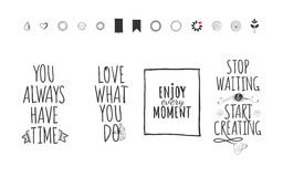 Lifestyle lettering and sketch icons set Royalty Free Stock Images