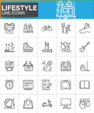 Lifestyle line icons set, outline vector symbol collection Royalty Free Stock Image