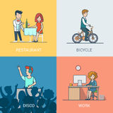 Lifestyle linear flat icons site click banner desi. Lifestyle concept linear flat icons set. People leisure holiday restaurant waiter bicycle riding disco music Royalty Free Stock Photos
