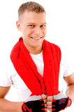 Lifestyle - man with towel and gm uniform Stock Photo