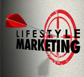 Lifestyle Marketing Words Arrow Hitting Target Personal Interest. Lifestyle Marketing words on a wall and arrow hitting the bulls-eye to illustrate targeting royalty free illustration