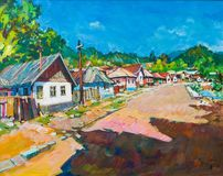 Lifestyle in old Transylvania painting stock photography