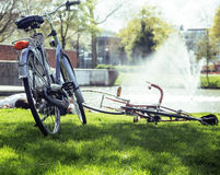 Lifestyle people concept: couple of bicycle on green grass in summer park at fountain Stock Photo