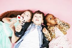 Lifestyle people concept: diverse nation children playing togeth stock photo