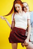 Lifestyle people concept: two pretty young school teenage girls Royalty Free Stock Photo