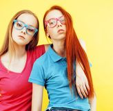 Lifestyle people concept: two pretty young school teenage girls Royalty Free Stock Photos
