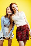 Lifestyle people concept: two pretty young school teenage girls Royalty Free Stock Images