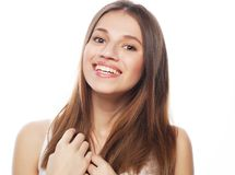 Lifestyle and people concept: Young cute smiling  girl. Isolated on white background Royalty Free Stock Images