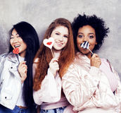 Lifestyle and people concept: young pretty diversity nations woman with different age children celebrating on birth day Royalty Free Stock Photo