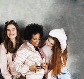 Lifestyle and people concept: young pretty diversity nations woman together happy smiling, making selfie. Africa stock images