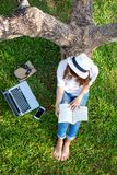 Lifestyle person Girl enjoy listening music and reading a book and play laptop on the grass field of the nature park in the mornin royalty free stock photos