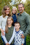 Lifestyle Portrait of a Five Person Family Outdoors. Lifestyle portrait of five people in a family along the banks of the McKenzie River in Oregon Stock Photos