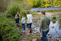 Lifestyle Portrait of a Five Person Family Outdoors Royalty Free Stock Images