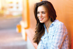 Lifestyle portrait happy pretty young woman outdoors. In city Royalty Free Stock Photo