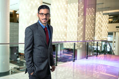 Lifestyle portrait of modern executive professional businessman manager in hotel lobby business elegant style confident Stock Image