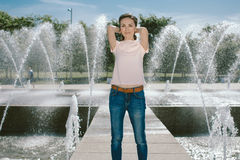 Lifestyle Portrait Pretty Woman Posing in the City Summer Stock Photos