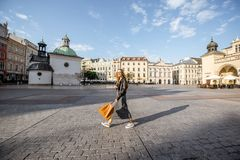 Woman traveling in Krakow Royalty Free Stock Image
