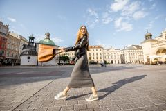 Woman traveling in Krakow Royalty Free Stock Photography