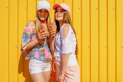 Lifestyle portrait of two beautiful best friend hipster lady wearing stylish bright outfits and having great time royalty free stock photography