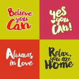 Lifestyle Quotes cards set Stock Photography