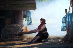 Lifestyle of rural Asian women in the field countryside thailand Stock Photo