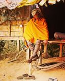 Lifestyle. Sadhu baba portrait old is gold Royalty Free Stock Image