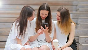 Lifestyle selfie portrait of young positive girls having fun and making selfie. Concept of friendship and fun with new. Portrait of young positive woman having stock video