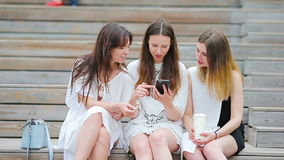 Lifestyle selfie portrait of young positive girls having fun and making selfie. Concept of friendship and fun with new. Portrait of young positive woman having stock video footage