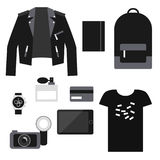 Lifestyle set: total black trendy clothes. Unisex casual outfit. Royalty Free Stock Photography