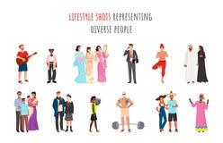 Lifestyle Shots Representing Diverse People Ethnic stock illustration