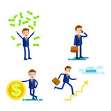 Lifestyle of Successful Businessman Flat Design Royalty Free Stock Images