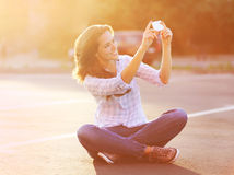 Lifestyle summer portrait happy pretty young woman selfie stock photography