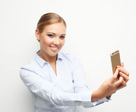 Lifestyle, tehnology  and people concept: Beautiful blond woman Royalty Free Stock Images